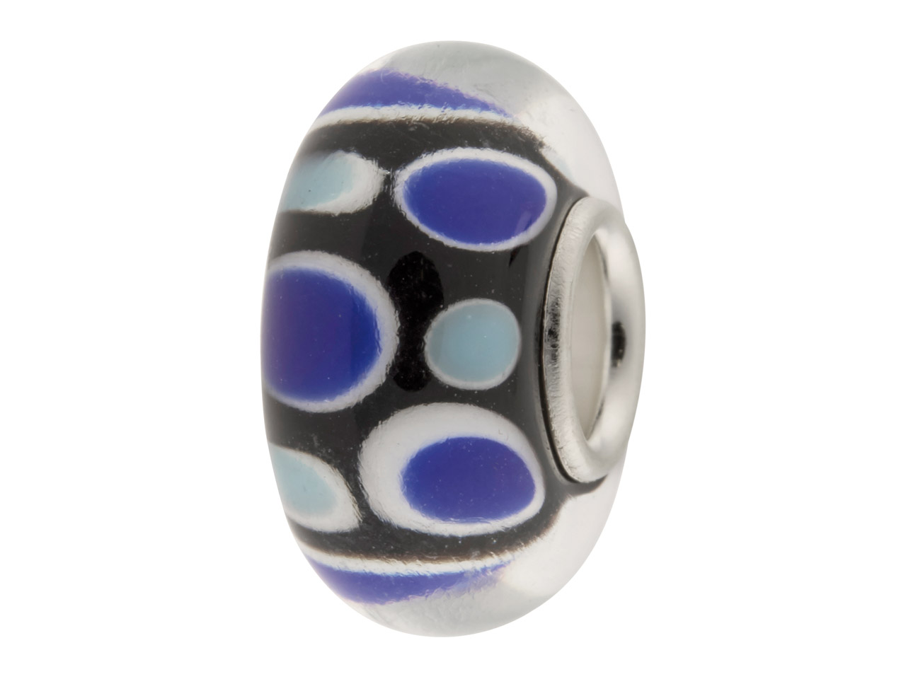 Glass Charm Bead, Black With Blue  And White Dots, Sterling Silver    Core
