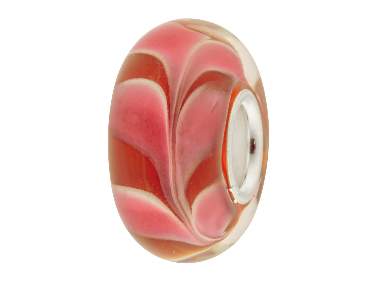 Glass Charm Bead, Red With Pink And White Swirl, Sterling Silver Core