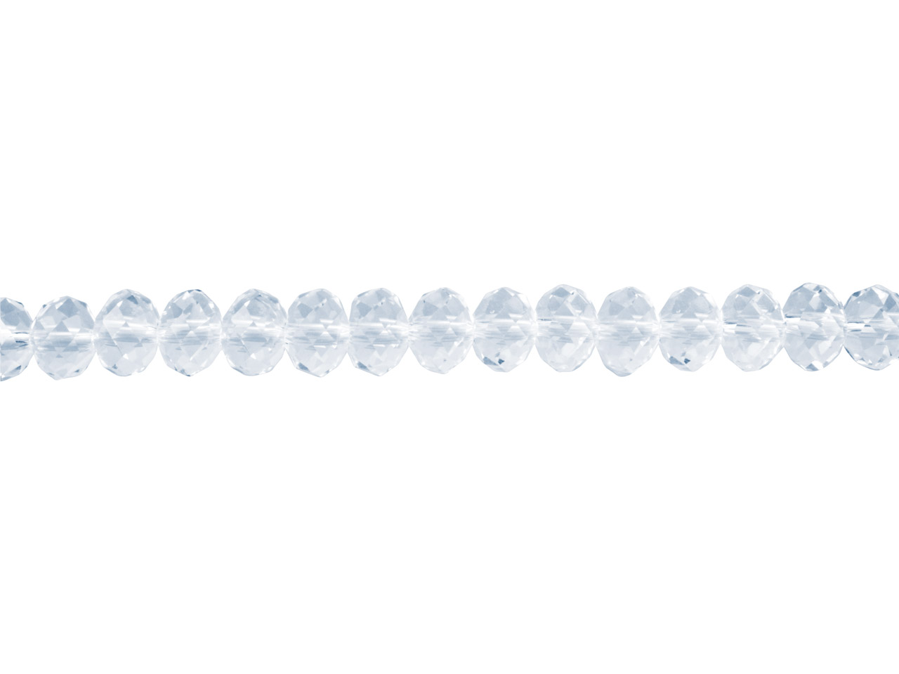 Crystal Faceted Rondelle Clear     6x8mm Beads, 16