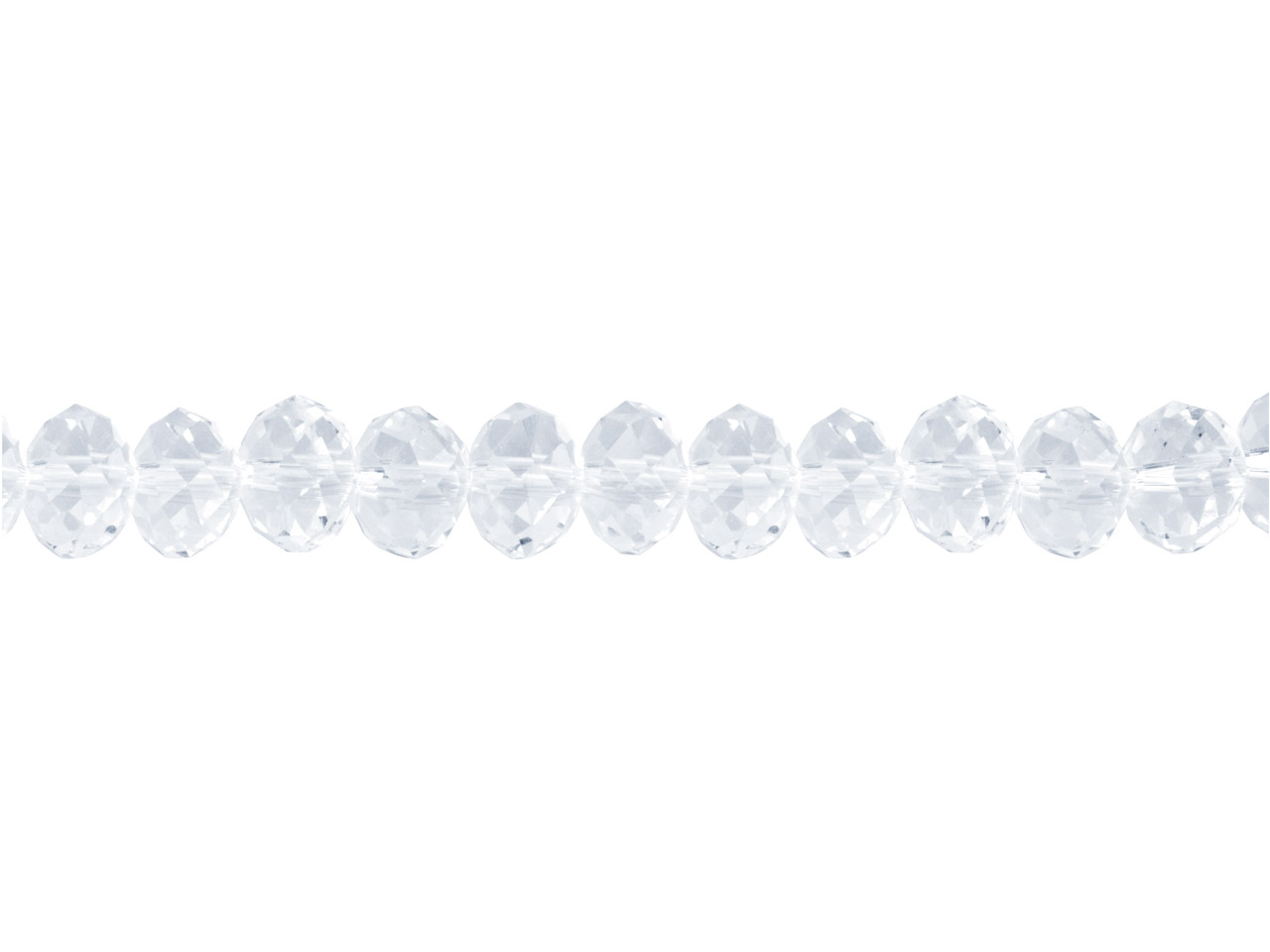 Crystal Faceted Rondelle Clear     8x10mm Beads, 16