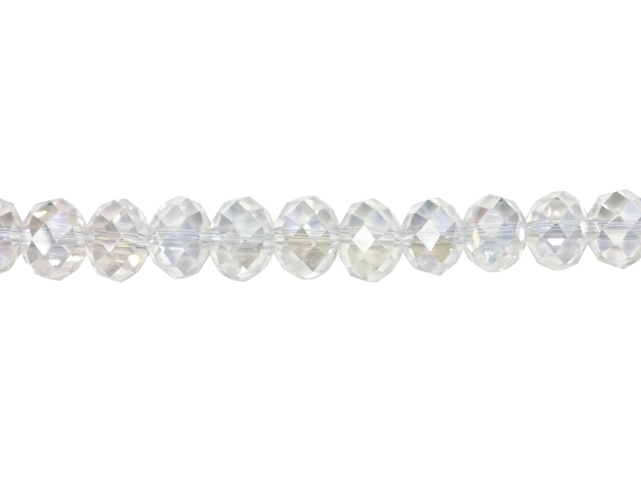 Crystal Faceted Rondelle Clear Ab  8x10mm Beads, 16