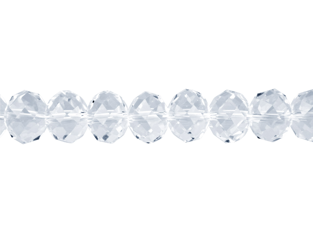 Crystal Faceted Rondelle Clear     10x14mm Beads, 16