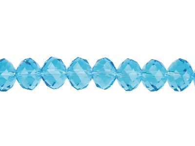 Crystal Faceted Rondelle Aqua      10x14mm Beads 1640cm Strand