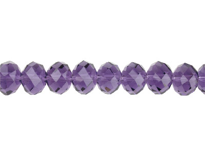 Crystal Faceted Rondelle Purple    10x14mm Beads 1640cm Strand