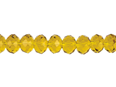 Crystal Faceted Rondelle Topaz     10x14mm Beads 1640cm Strand