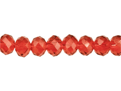 Crystal Faceted Rondelle Red       10x14mm Beads 1640cm Strand