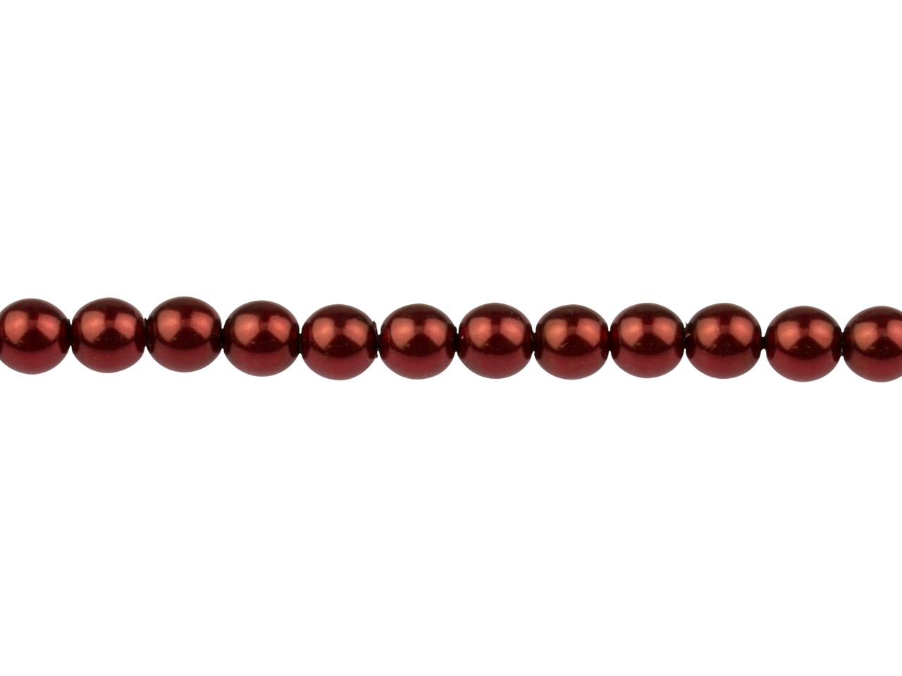 Czech Glass Pearl Beads, Claret,   6mm, 18cm Length