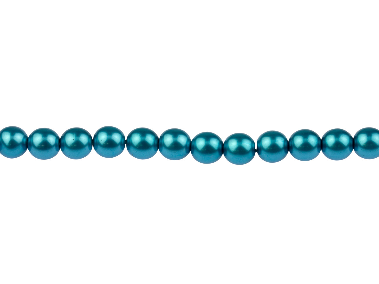 Czech Glass Pearl Beads, Blue      Turquoise, 6mm, 18cm Length