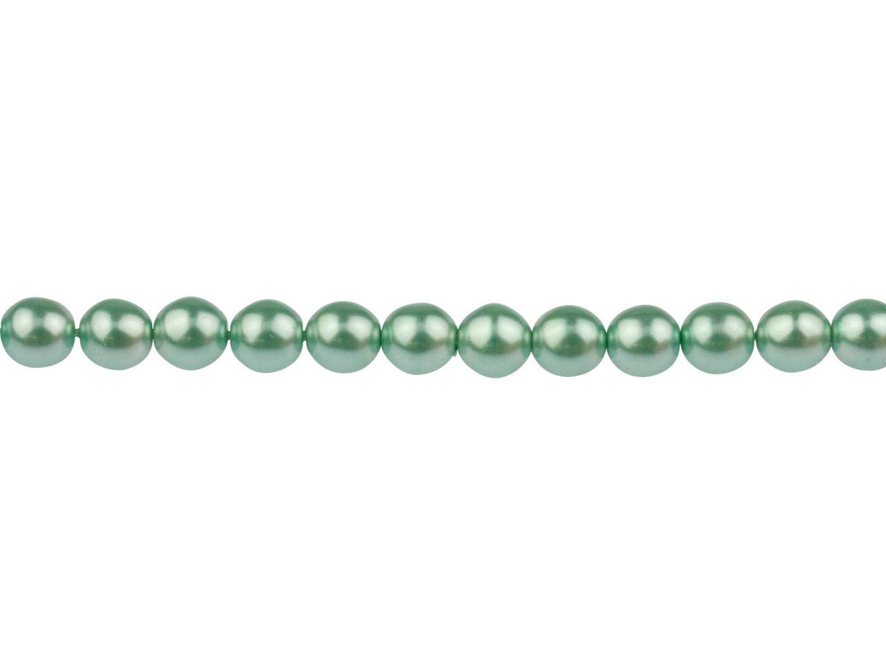 Czech Glass Pearl Beads, Soft      Green, 6mm, 18cm Length