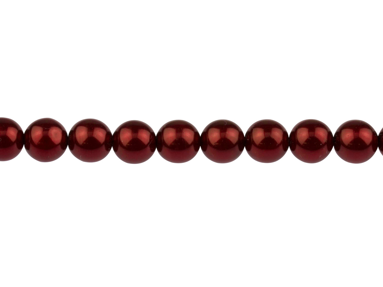 Czech Glass Pearl Beads, Claret,   8mm, 20cm Length