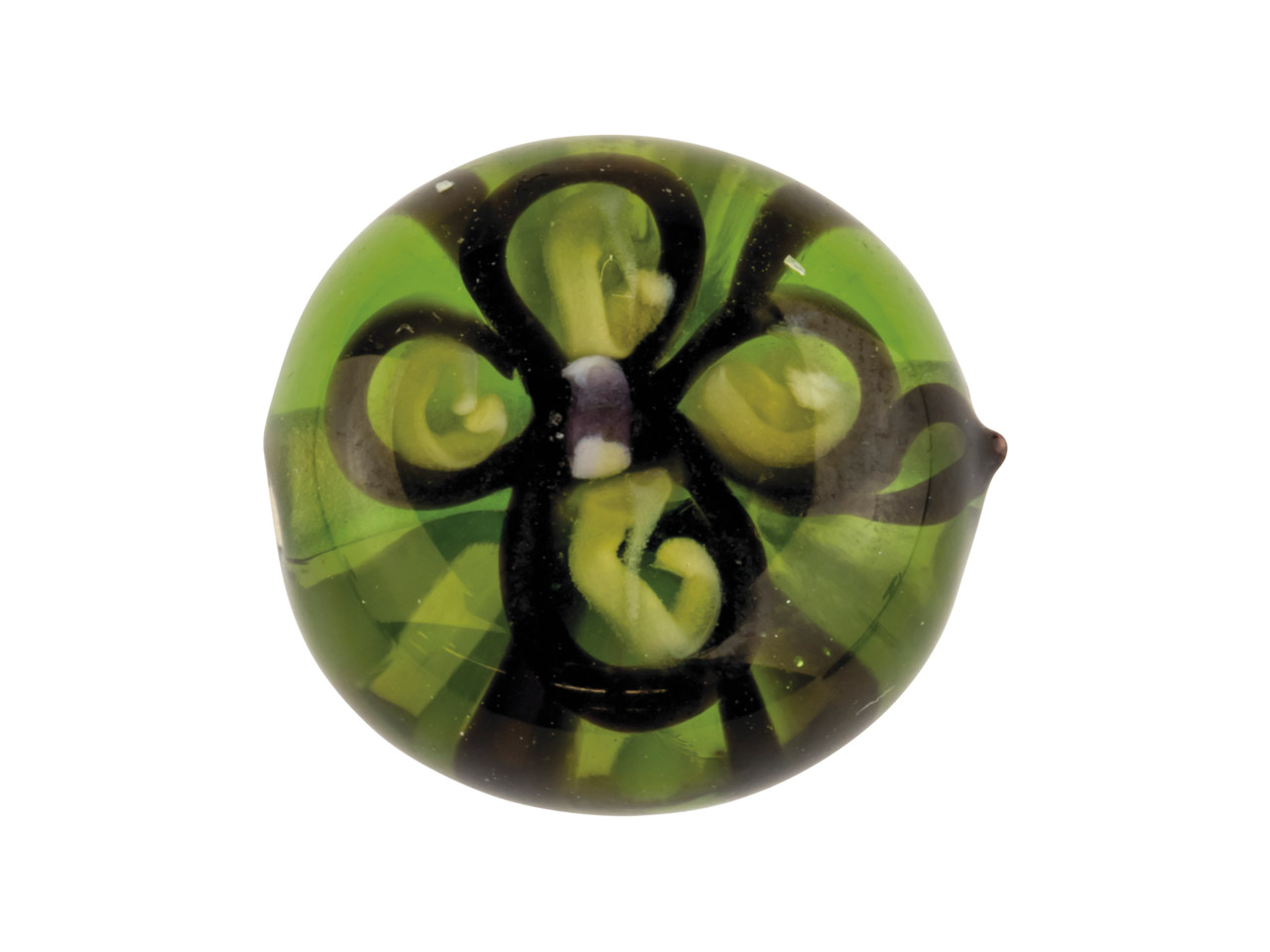 Green Flower European Lampwork     Bead, 12x11mm