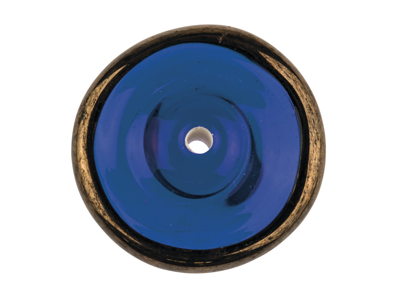 Blue With Copper Edge European     Lampwork Disc Bead, 16mm