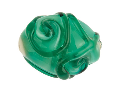 Teal With Swirl Detail Oval        European Lampwork Bead, 16x13mm