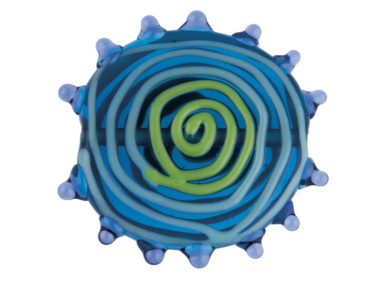 Blue Flat Disc With Swirls And     Spots European Lampwork Bead, 33mm