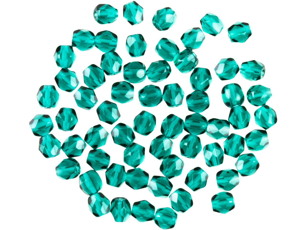 Preciosa 4mm Czech Fire Polished   Glass Beads Emerald, Pack of 100,