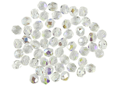 Preciosa 4mm Czech Fire Polished   Glass Beads Crystal Ab,            Pack of 100,