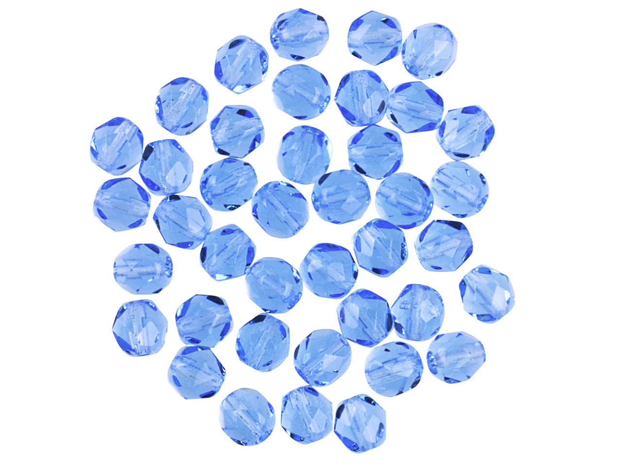 Preciosa 6mm Czech Fire Polished   Glass Beads Capri Blue,            Pack of 100,