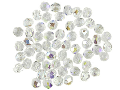 Preciosa 6mm Czech Fire Polished   Glass Beads Crystal Ab,            Pack of 100,
