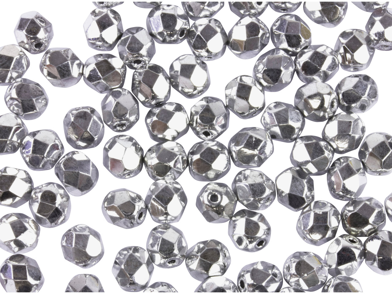 Preciosa 6mm Czech Fire Polished   Glass Beads Crystal Sil,           Pack of 100,