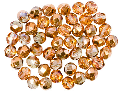 Preciosa 6mm Czech Fire Polished   Glass Beads Copper Clear          Pack of 100