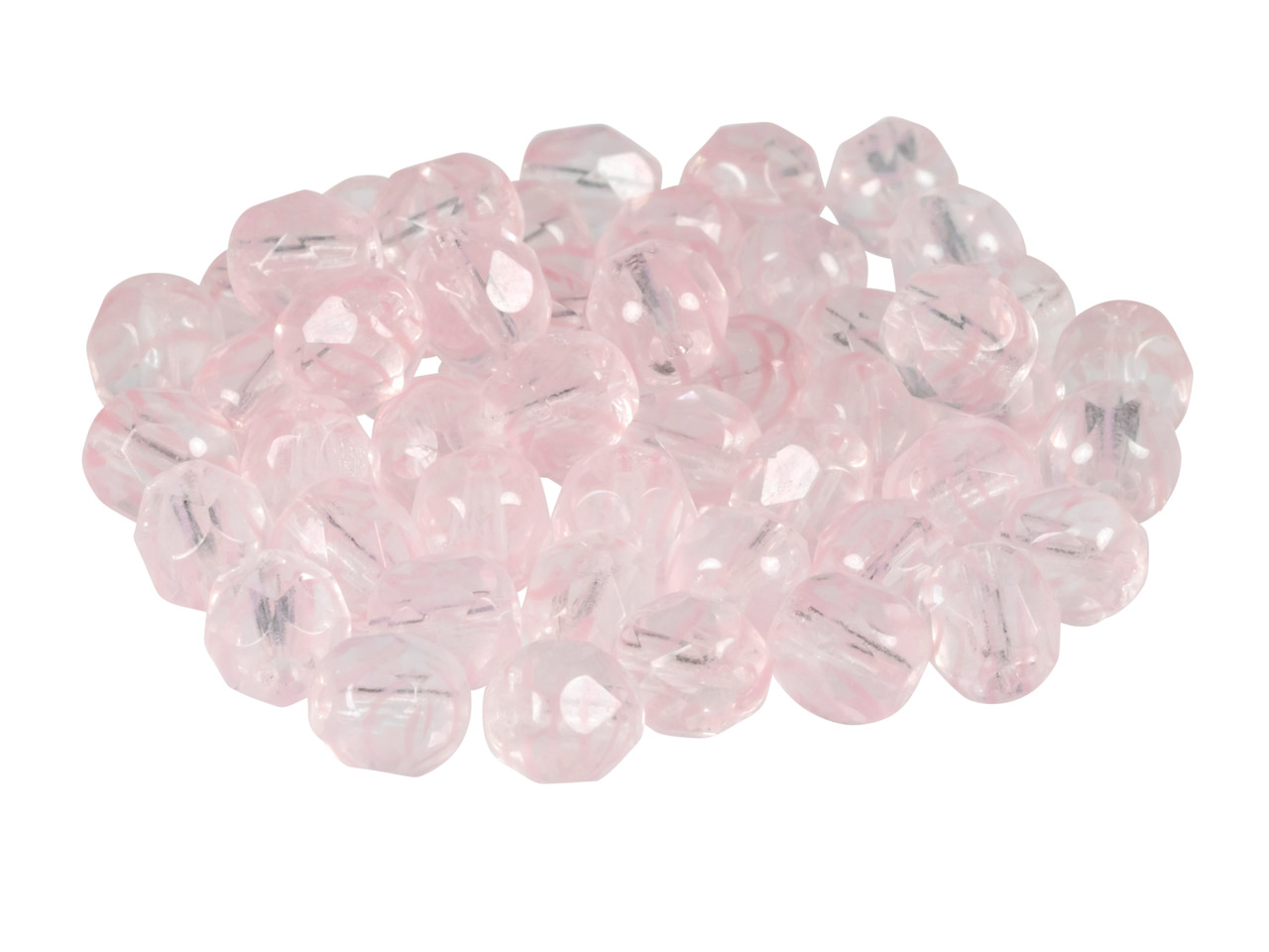6mm Czech Fire Polished Glass      Beads, 2-tone Light Rose,          Pack of 50