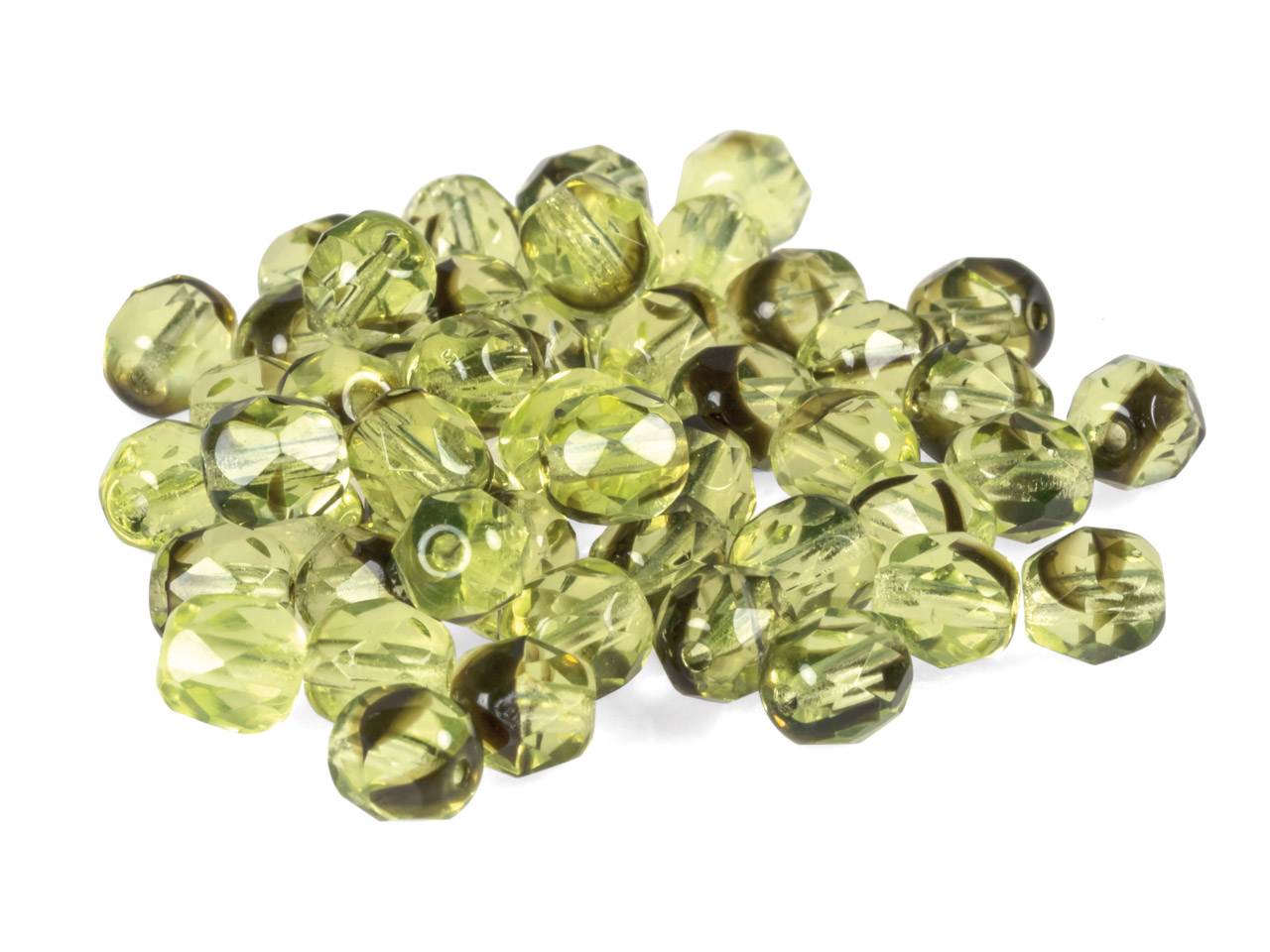 6mm Czech Fire Polished Glass      Beads, 2-tone Green And Black,     Pack of 50