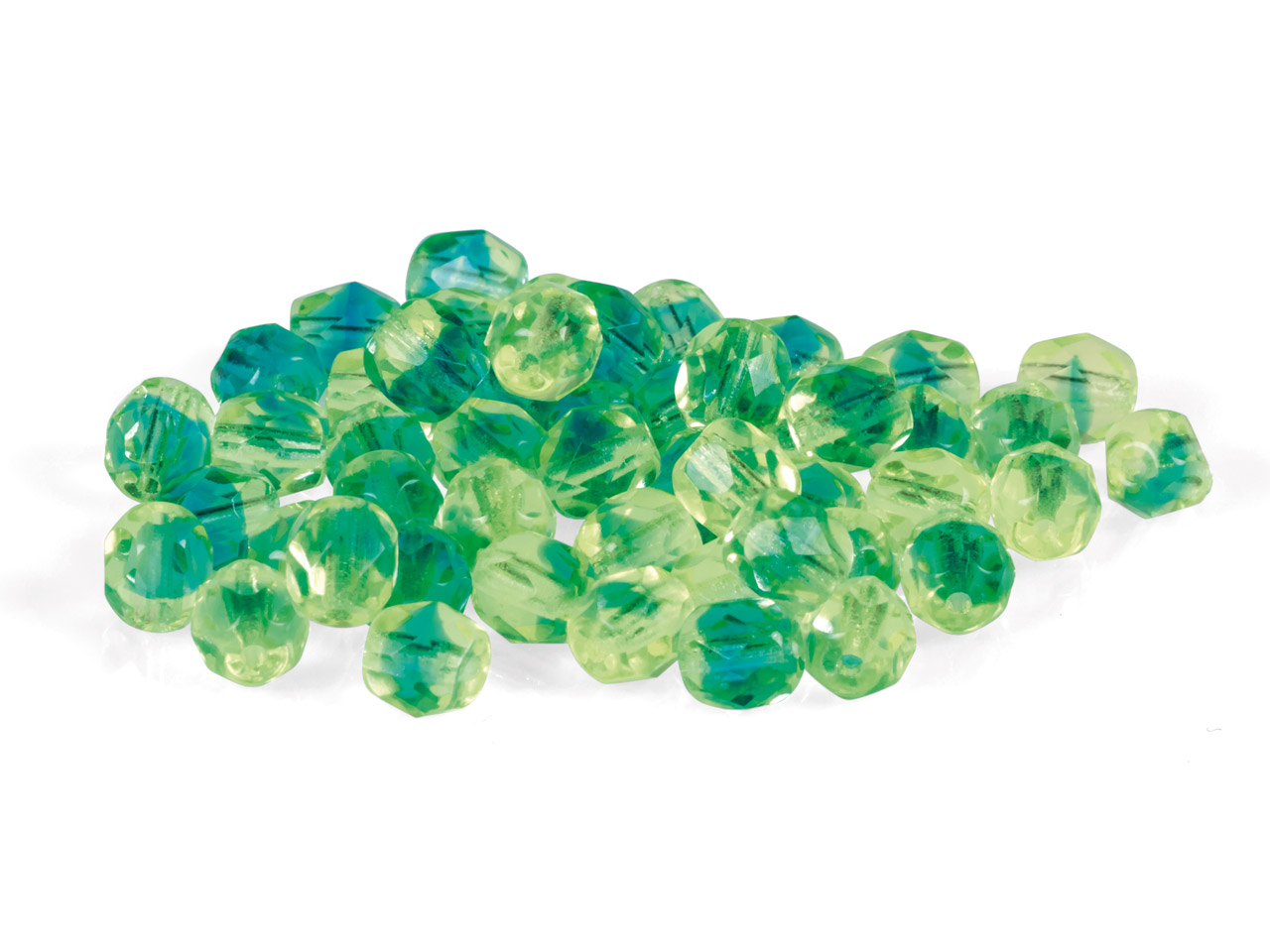 6mm Czech Fire Polished Glass      Beads, 2-tone Green And Aqua,      Pack of 50