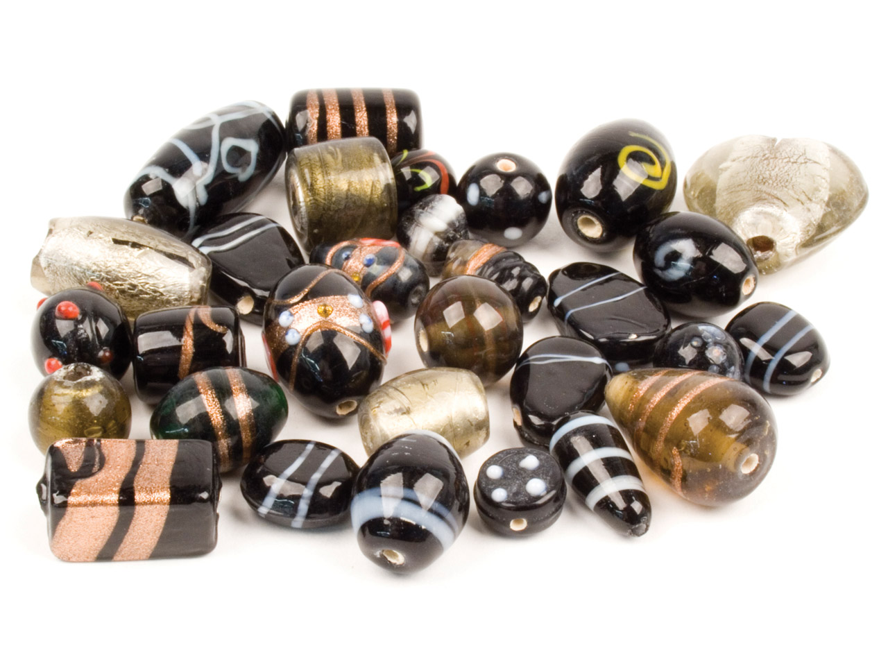 Intricate Black Glass Mix Beads,   100g