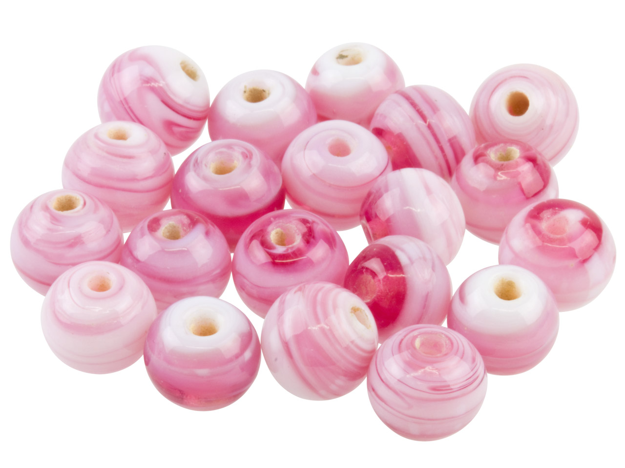Fancy Glass Round Pink Beads 8mm,  Pack of 50