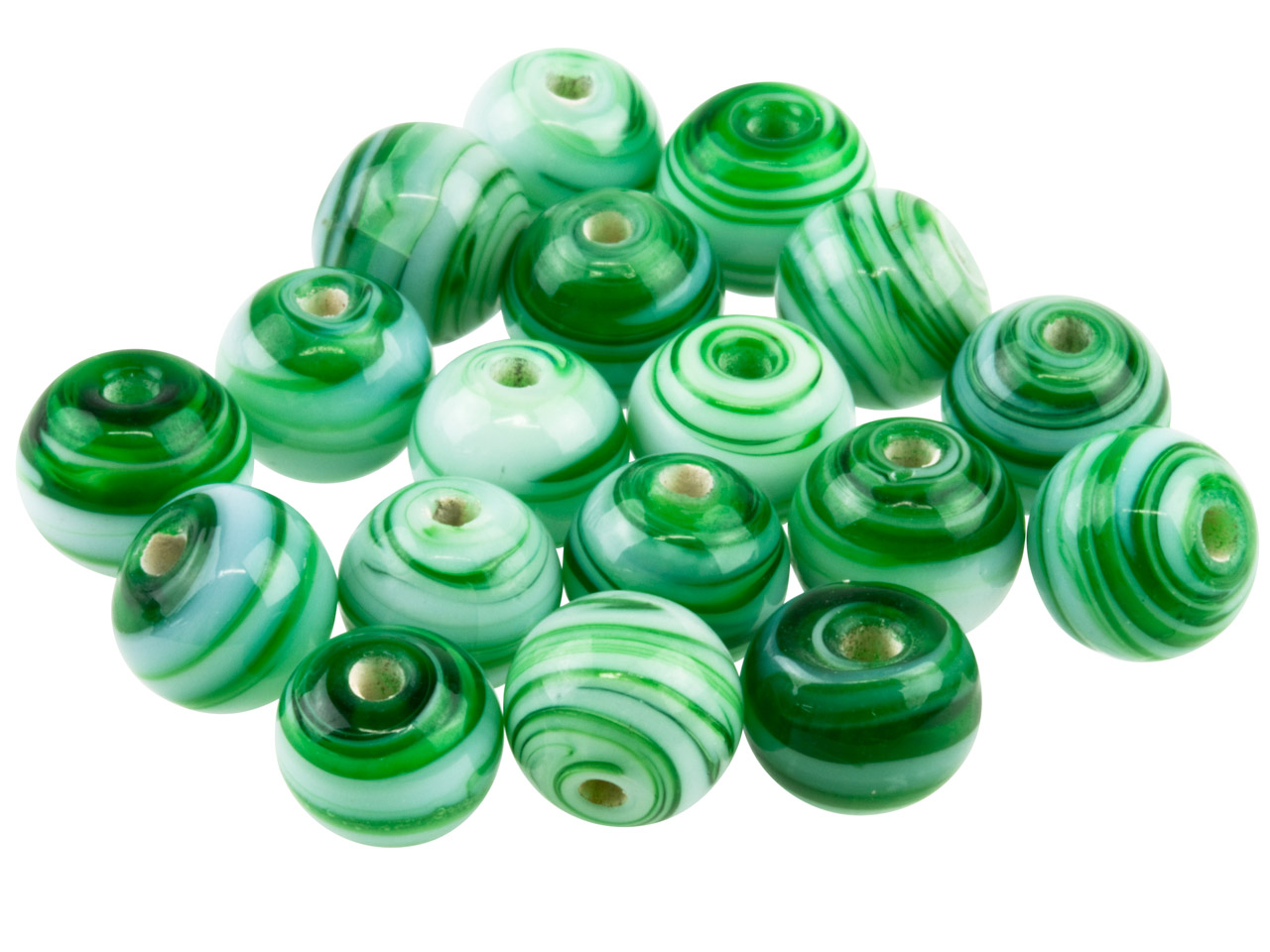 Fancy Glass Round Green Beads 8mm, Pack of 50