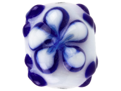 Lamp Glass Round Blue And White    Flower Beads 14mm Pack Of 10