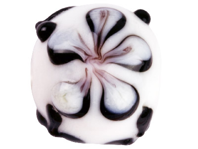 Lamp Glass Round Black And White   Flower Beads 14mm Pack Of 10
