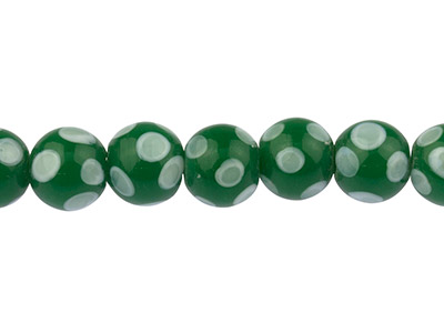 Lamp-Glass-Round-Beads,-Green------Sp...