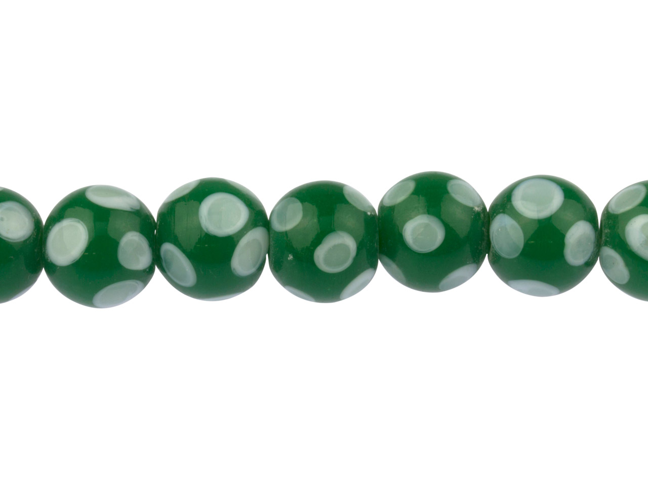 Lamp Glass Round Beads, Green      Spotted, 12mm, Pack of 7