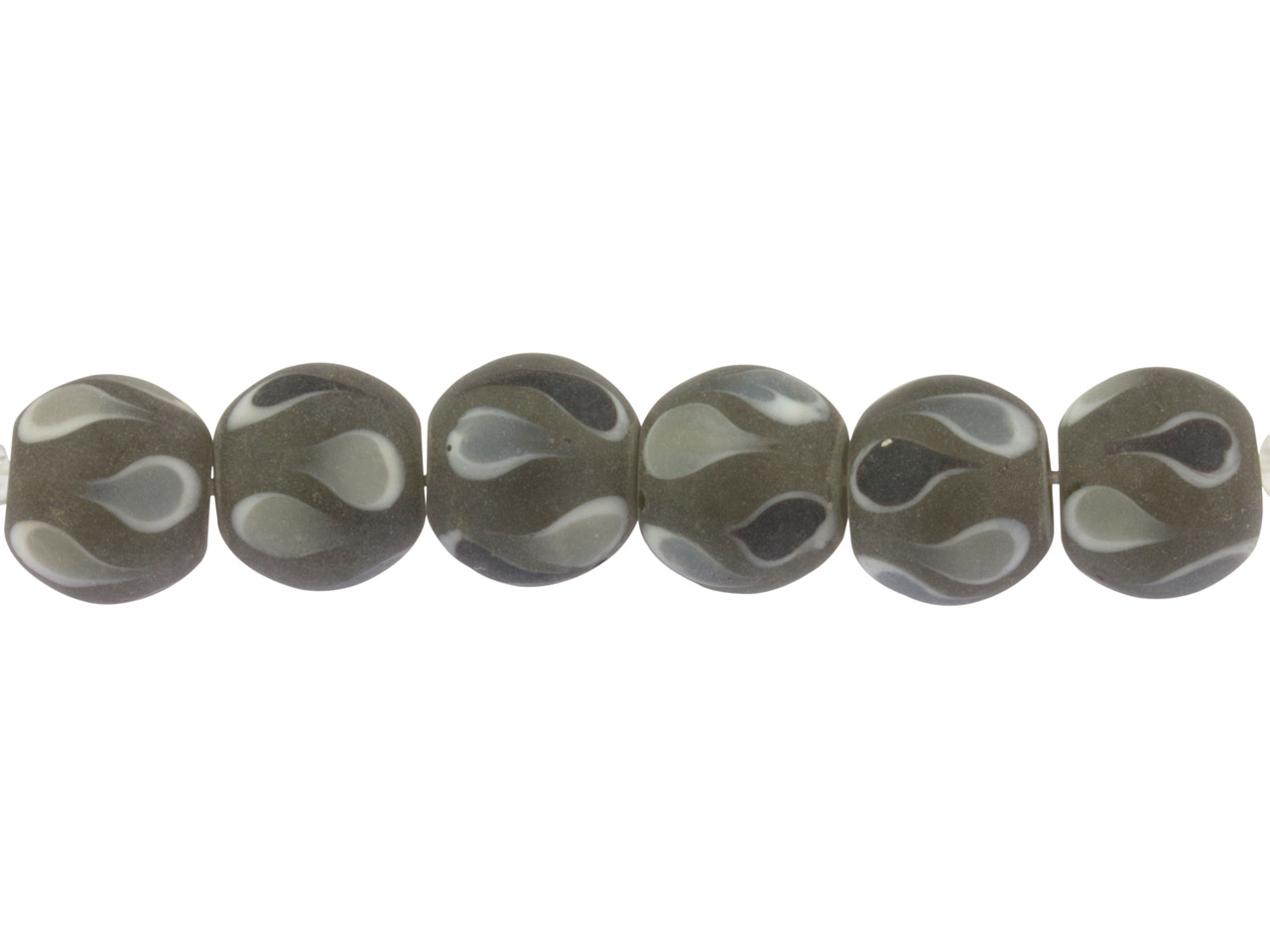 Lamp Glass Round Beads, Black      Teardrop, 12mm, Pack of 6