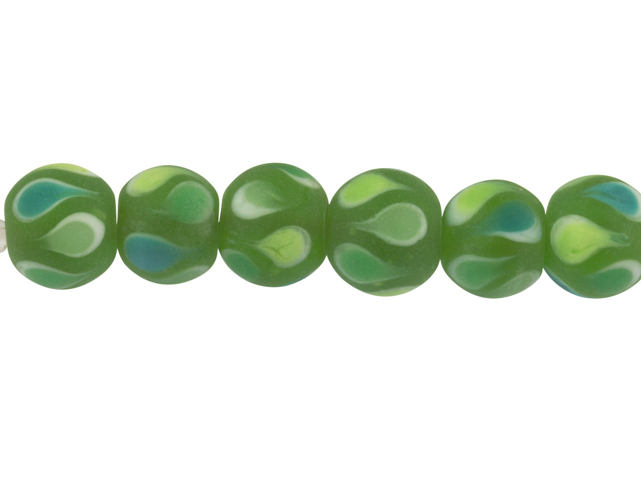 Lamp Glass Round Beads, Green      Teardrop, 12mm, Pack of 6