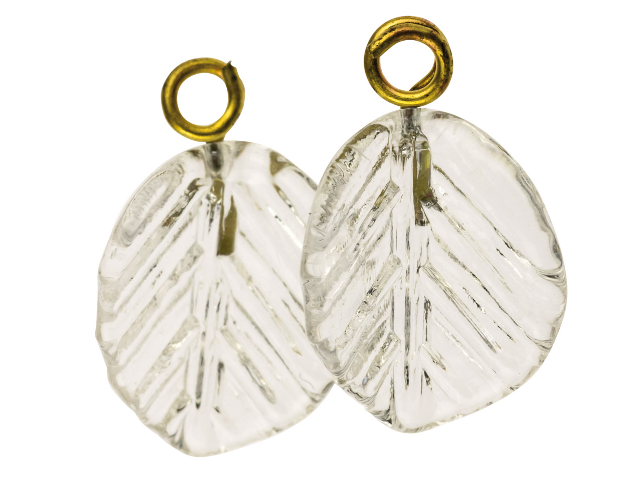Lamp Glass Leaves, Colourless With Loop, 11mm, Pack of 2