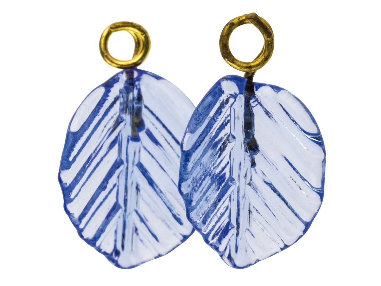 Lamp Glass Leaves, Light Sapphire  With Loop, 11mm, Pack of 2