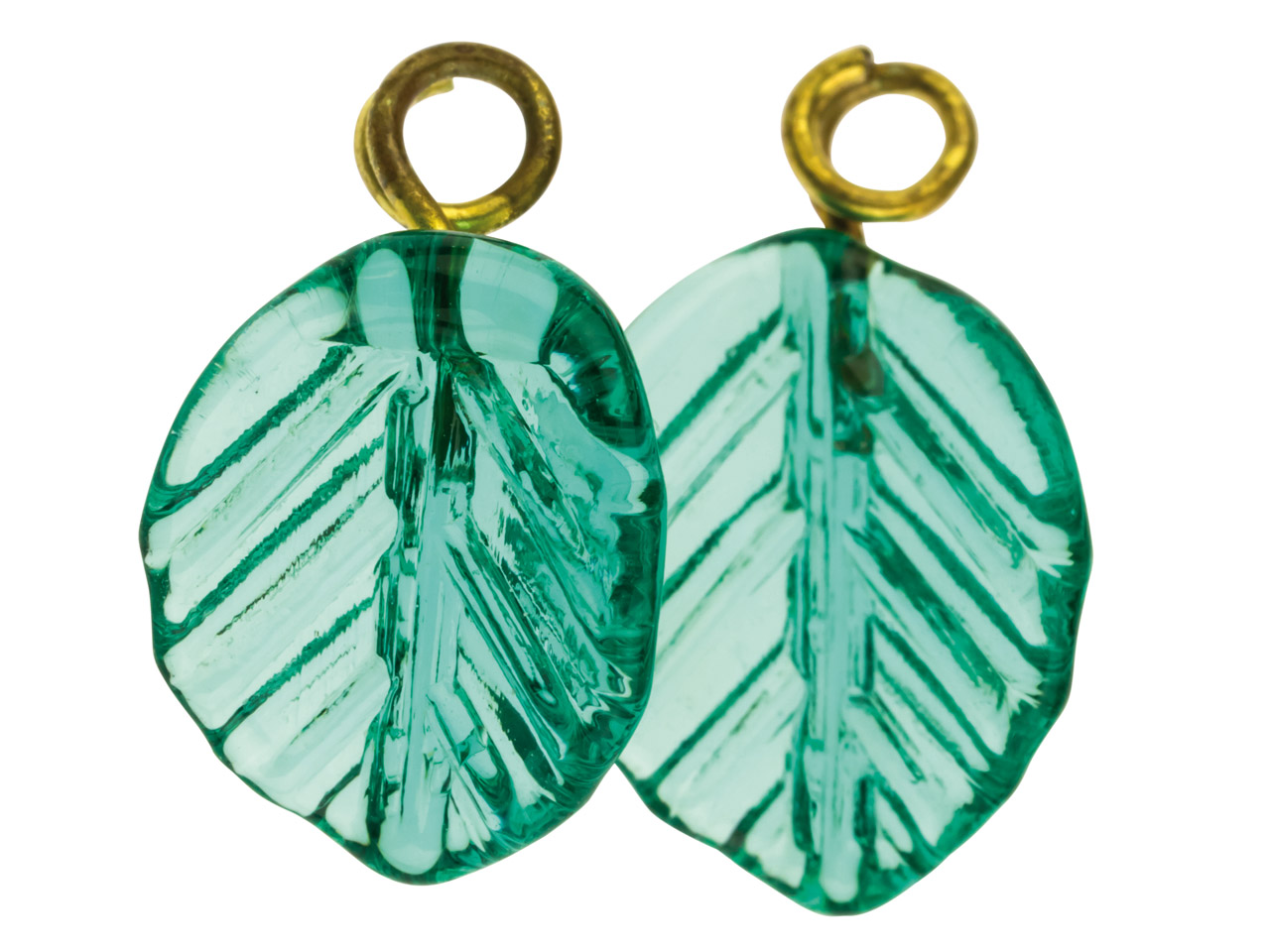 Lamp Glass Leaves, Green With Loop, 11mm, Pack of 2
