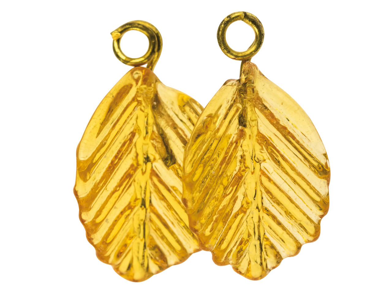 Lamp Glass Leaves, Topaz With Loop, 11mm, Pack of 2