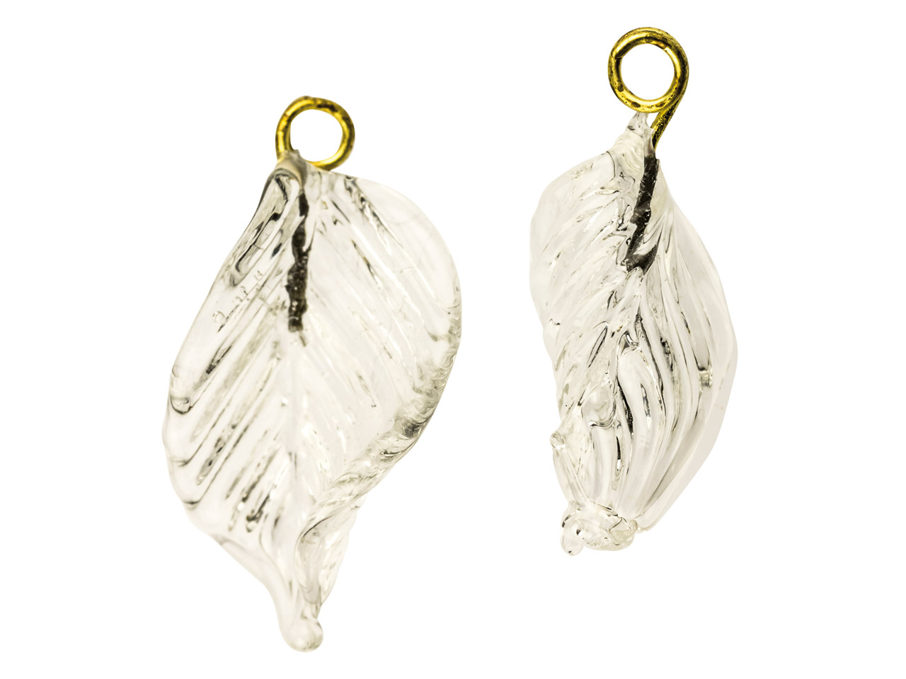 Lamp Glass Leaves, Colourless With Loop, 23mm, Pack of 2