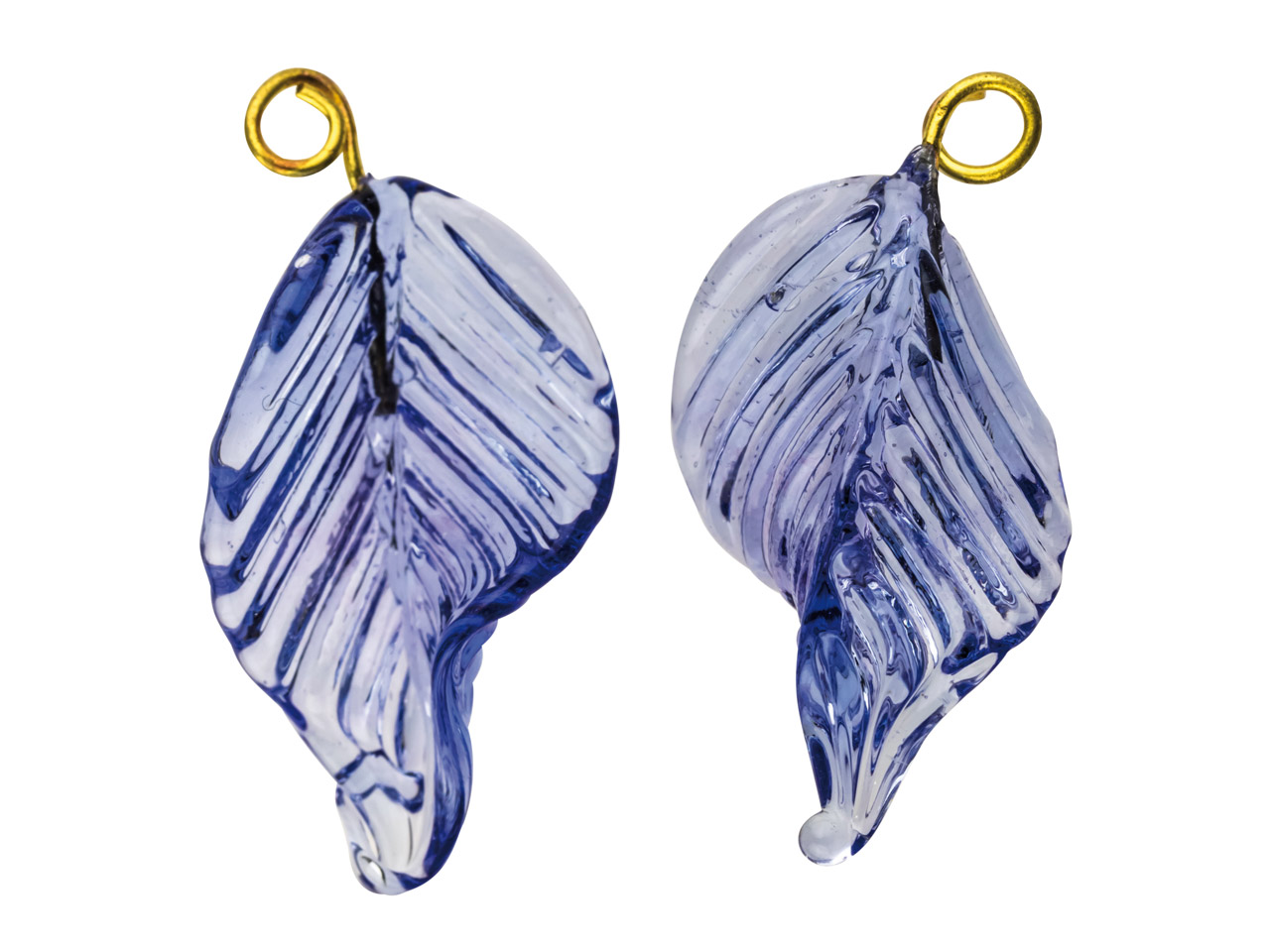 Lamp Glass Leaves, Light Sapphire  With Loop, 23mm, Pack of 2