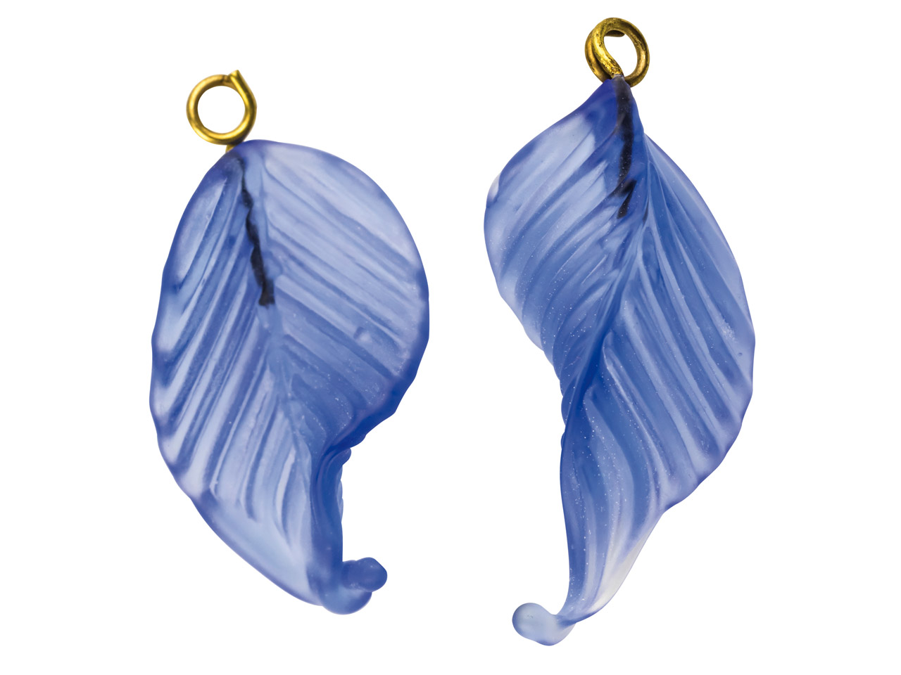 Lamp Glass Leaves, Frosted Light    Sapphire With Loop, 23mm, Pack of 2