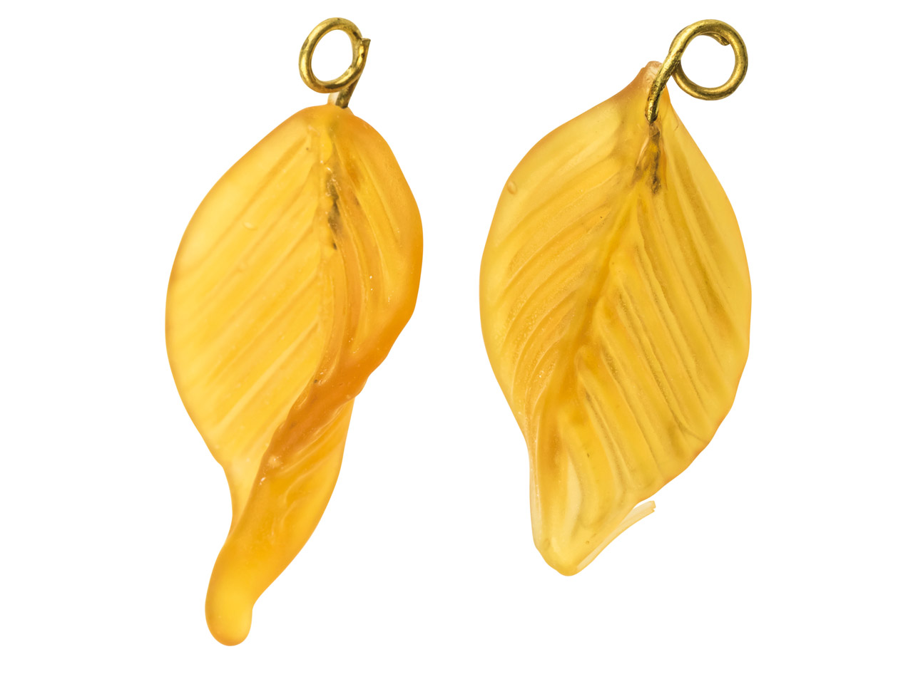 Lamp Glass Leaves, Frosted Topaz   With Loop, 23mm, Pack of 2