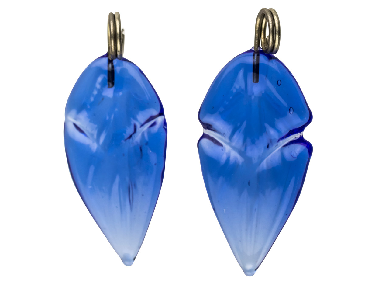 Lamp Glass Leaves, Cobalt With     Loop, 16x10mm, Pack of 2