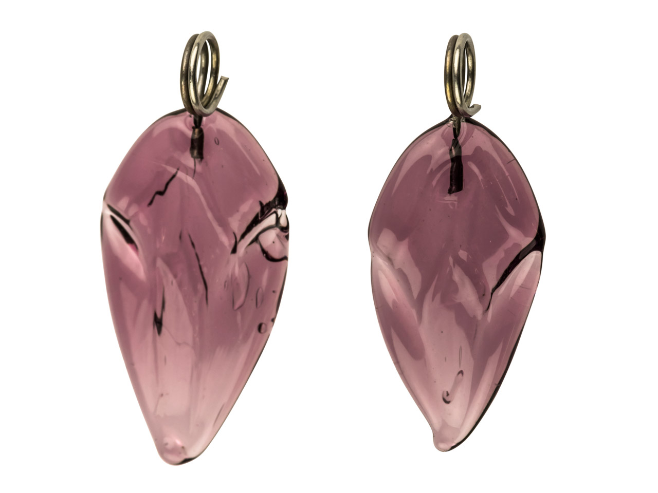 Lamp Glass Leaves, Amethyst With   Loop, 16x10mm, Pack of 2