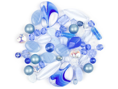 Preciosa Czech Light Blue Glass Bead Mix 50g