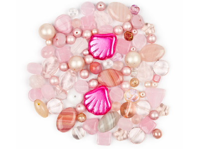 Preciosa Czech Pink Glass Bead Mix 50g
