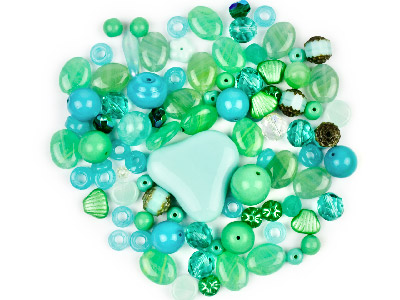 Preciosa Czech Sea Green Glass Bead Mix 50g