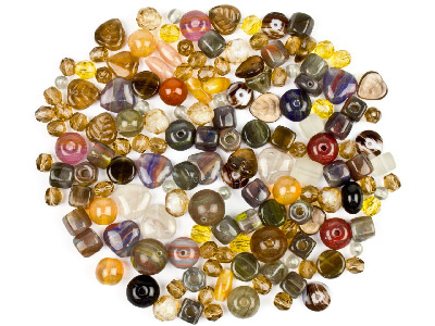 Preciosa Czech Earth Brown Glass Bead Mix 50g